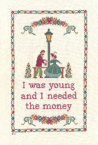 Kate Westerholt is a cross stitch sampler designer with a difference. She takes 18th century colonial motifs and combines them with modern film quotes and song lyrics in an attempt to question what | tell.la