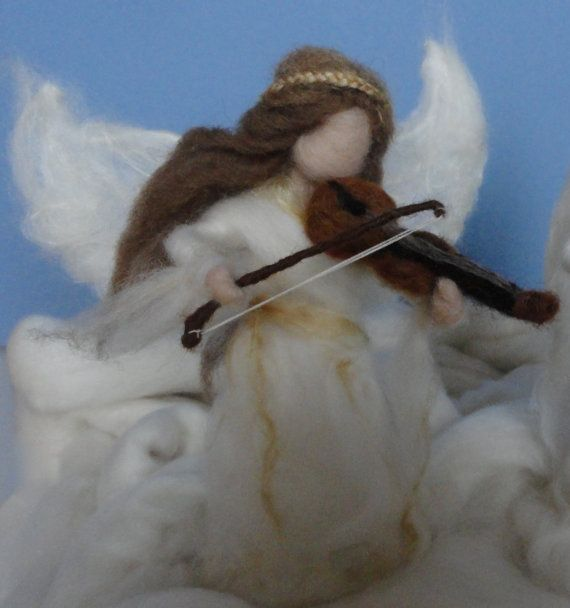 Needle Felted Angel Waldorf Gold and White by ClaudiaMarieFelt