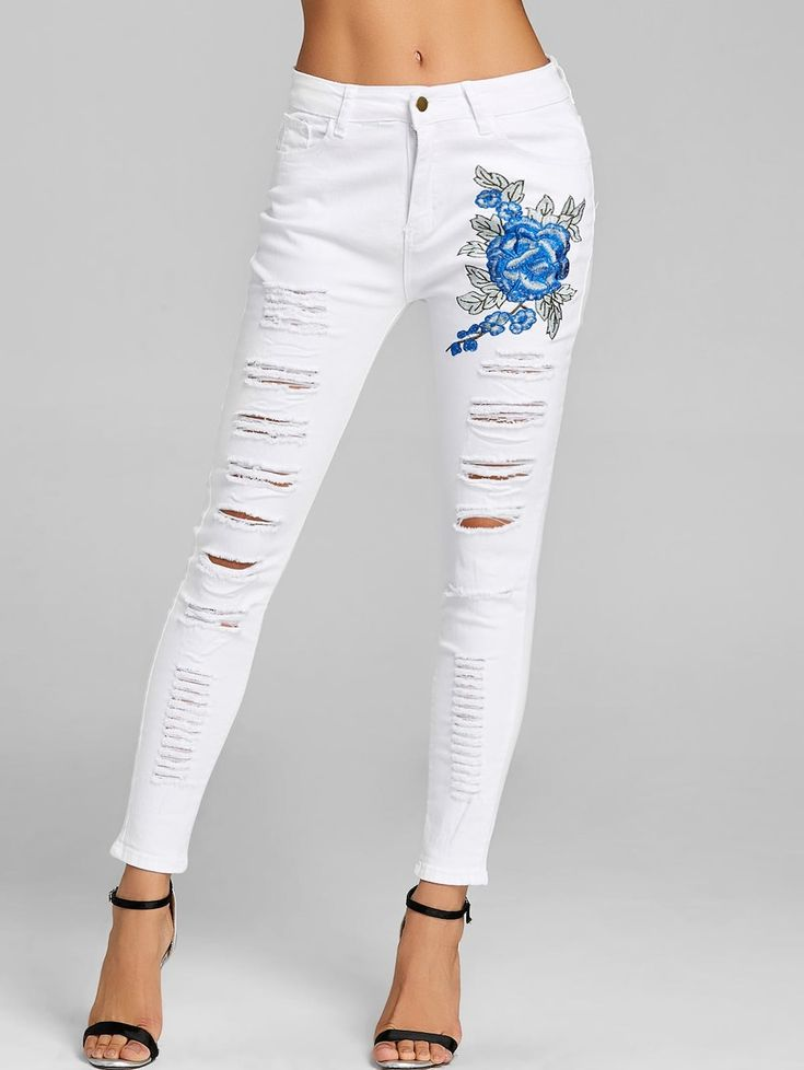 Floral Embroidery Distressed Skinny Jeans - WHITE S