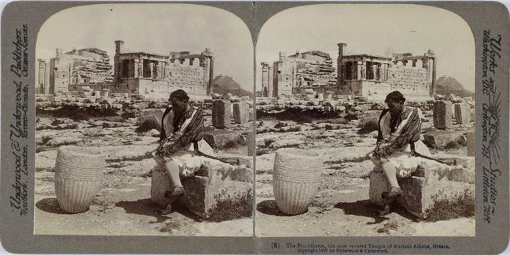 The Erechtheion, the most revered Temple of Ancient Athens, Greece. Η βορειοδυτική πλευρά του Ερεχθείου. Αθήνα, γύρω στα 1897 Underwood & Underwood