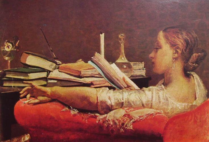 """""""La lettrice"""", Federico Faruffini, 1864; olio su tela, 40,5x59 cm; l'opera è esposta presso la Galleria d'arte moderna di Milano."""