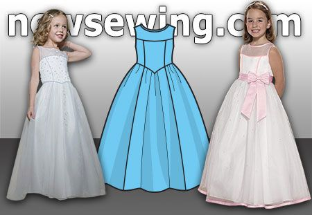 Выкройка нарядного платья для девочки. Готовая выкройка в натуральную величину. Распечатывается на обычном принтере.