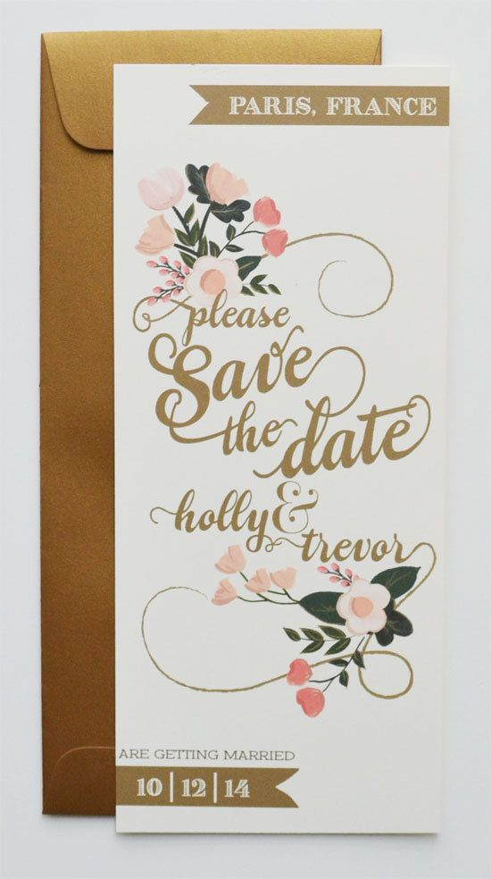 Custom Gold and Blush Save the Date