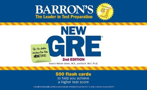 GRE Flash Cards: This updated set of flash cards prepares students for the new Graduate Record Exam, which will replace the old-format exams starting August 1, 2011. The cards test students' verbal and math skills and help them to focus on areas that require additional study. The set consists of— • 250 verbal cards, including definitions, antonyms, and sentence-completion practicebr /• 250 math cards, including 75 math facts, 25 math strategies, 65 multiple-choice questions, and 65 q...
