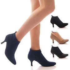 LADIES WOMENS LOW STRETCH ANKLE BOOTS KITTEN HIGH HEEL WORK OFFICE SHOES SIZE
