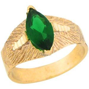 14k Yellow Gold Synthetic Emerald Marquise Antique Inspired Baby Ring Jewelry Liquidation. $171.18. Comes with FREE fancy black leatherette ring box!. Made with Real 14k Gold!. Made in USA!. Save 54% Off!