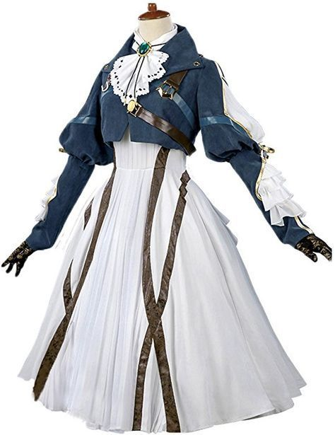 buy popular 037a3 685ba Amazon.com  Nuoqi Violet Evergarden Cosplay Costume Womens Anime Uniforms  Suit Dark Blue White  Clothing