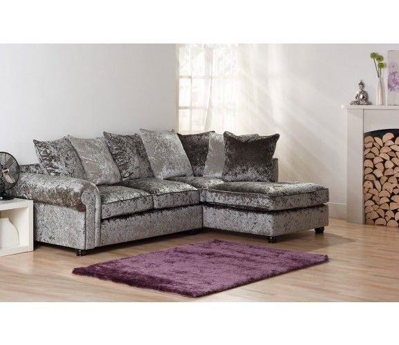 Marilyn Crushed Velvet Corner Sofa Silver Grey Ideas For The