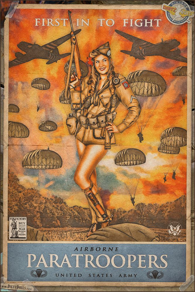 Today's pinup is another in the WW2 Propaganda Pinup Poster Series featuring Brittany and US Army Paratroopers! In addition to many propaganda posters showcasing the calls to ration, buy war bonds, work hard, keep quiet, and more; another popular type of poster were those that promoted the different branches of the Military. http://www.dietzdolls.com/catalog/product_info.php?products_id=43    � Dietz Dolls: http://www.dietzdolls.com    Facebook: https://www.facebook.com/MomentsCapture