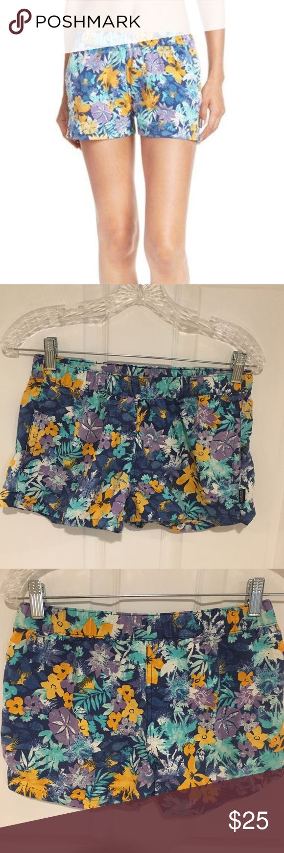 Patagonia Floral Print Barely Baggies Shorts Must have for summer! Super fun Floral pattern and bright color shorts. Barely baggies style. New without tags. Patagonia Shorts