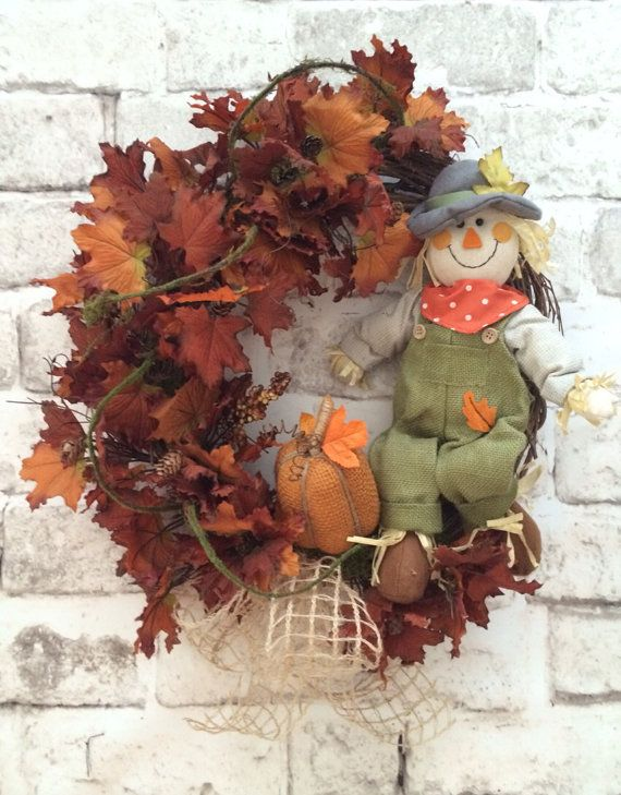 Scarecrow Wreath Fall Wreath for Door Autumn by AdorabellaWreaths,