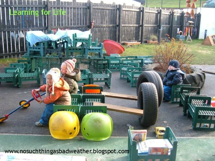"Love the use of crates & tyres in this outdoor role-play ("",)"