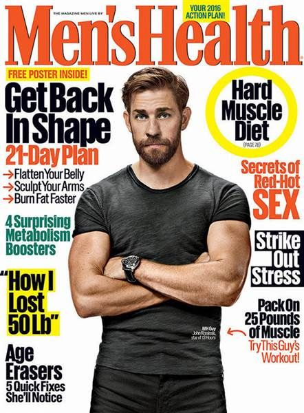 Krasinski is showing off his new pumped look in the January/February issue of Men's Health magazine.