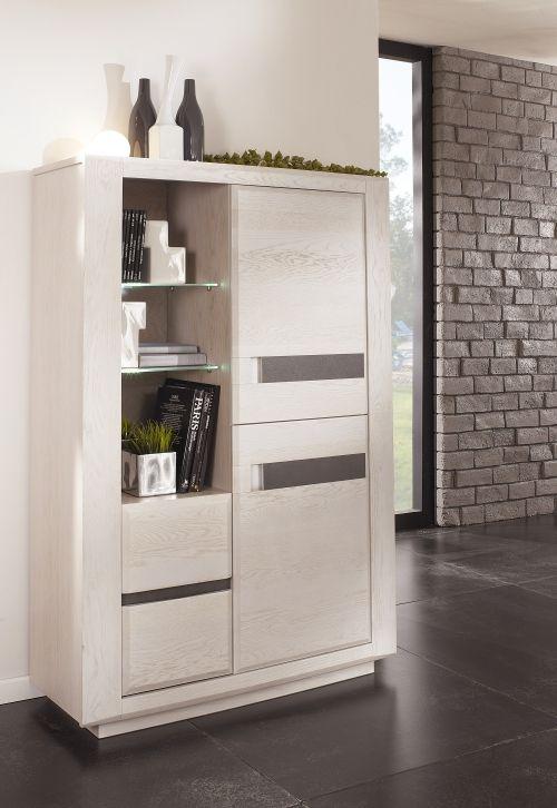 Meublea - collection Ottawa - Armoirette de rangement 2 portes et 2 tiroirs. possibilité d'insert céramique.  Dimensions : L110 / H 165 / P 48.5.