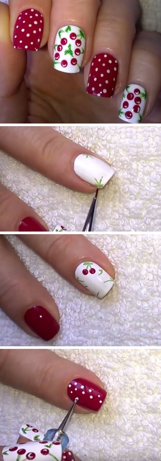 Cherry Nail Art Design | 18 Easy Summer Nails Designs for Summer | Cute Nail Art Ideas for Teens