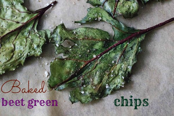 These baked beet green chips are easy and healthy, using just a few simple ingredients such as sea salt and olive oil. Better than kale chips!