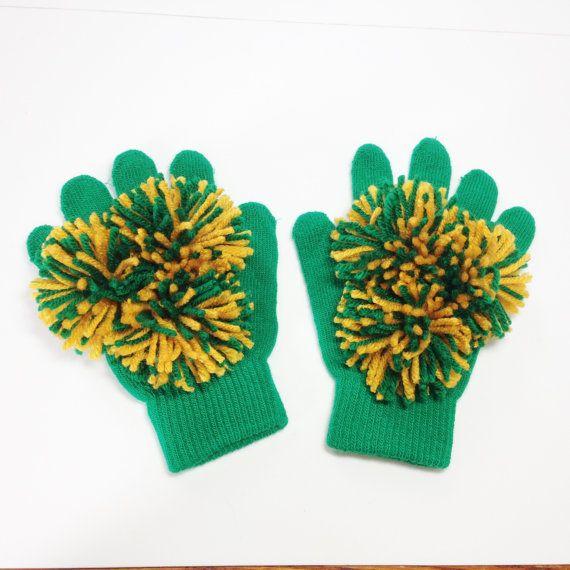 Pom Pom Gloves, green and gold, Cheer gloves, Spirit Gloves, Spirit Fingers, School spirit gloves, Cheerleader Gloves