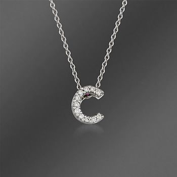 roberto coin tiny treasures diamond accent initial c necklace in