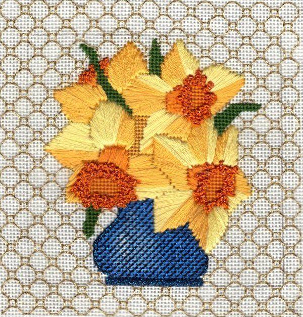 4x4 Daffodil needlepoint