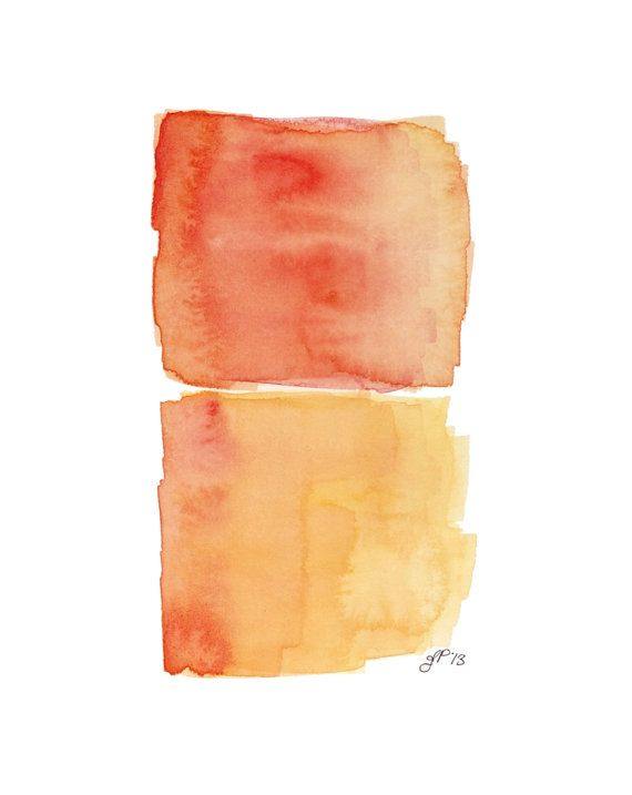 Items Similar To Print Orange And Yellow Abstract Watercolor Painting