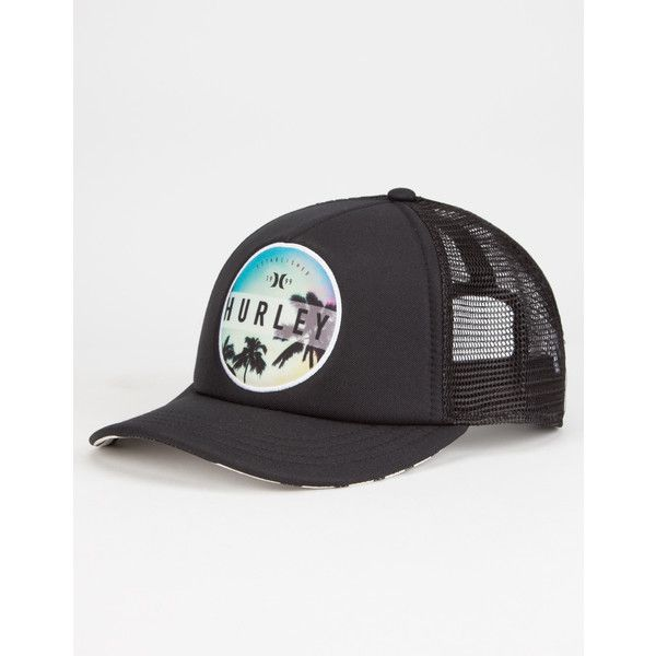 Hurley Printed Womens Trucker Hat ($25) ❤ liked on Polyvore featuring accessories, hats, bills hats, truck caps, embroidery hats, polyester hat and mesh back snapback hats