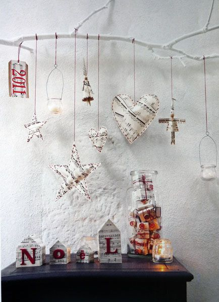 marie claire ideas: Christmasdecor, Idea, Christmas Crafts, Paintings Branches, Trees Branches, Christmas Decor, White Branches, Rustic Christmas, Christmas Ornaments