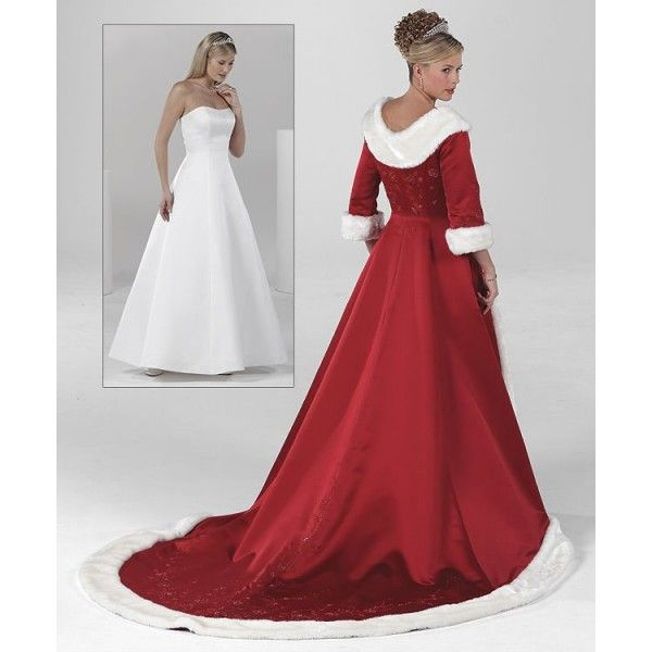 Red wedding dresses unique white fur long sleeve holiday christmas