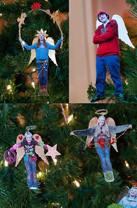 Using (posed) family photos to make personalised tree Angels~cute idea!