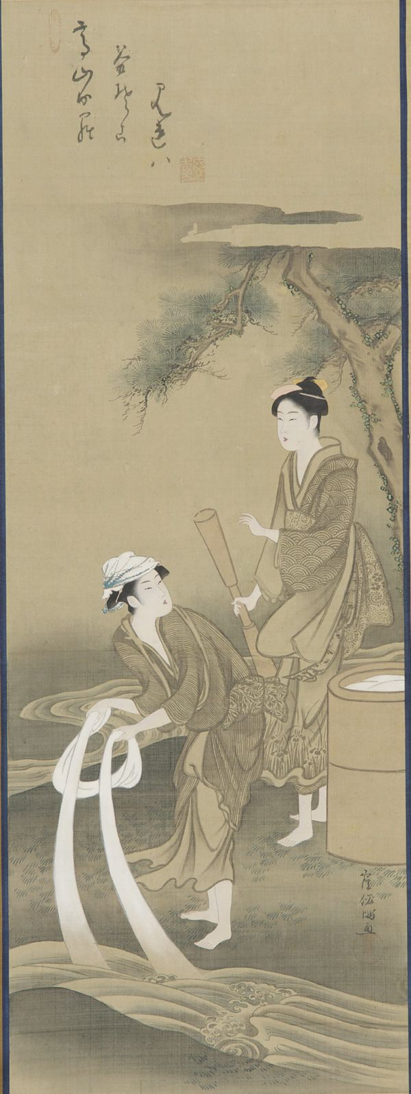 Color in japanese art - White Summer Two Women Bleaching Cloth In A Stream Toi No Tama Gawa Century Kubo Shunman Japanese Edo Period Color On Silk H W Cm Japan Gift Of