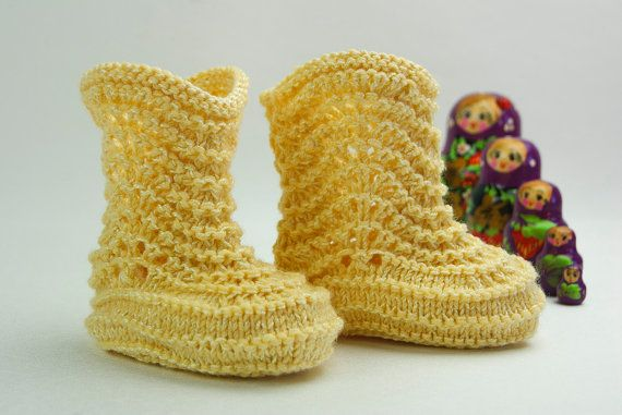 Baby Knitted Booties Yellow Booties for Babies Made by easycrochet, $30.00