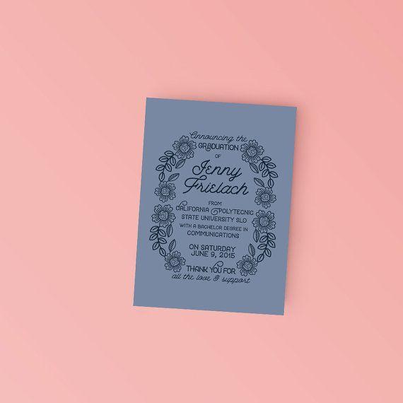 Modern Floral College Grad announcement - Printable Graduation Announcement Invitation - DIY Ready to print invitation
