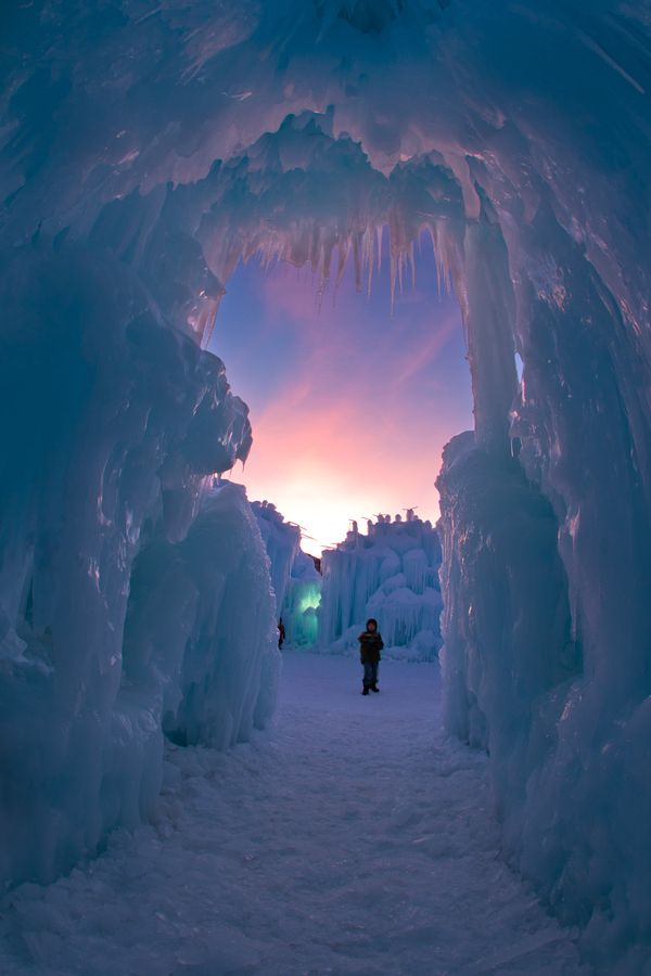 Tunnel of snow and ice.