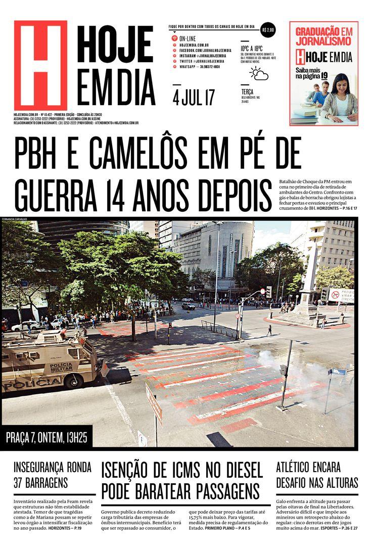 Capa do dia 04/07/2017 #HojeEmDia #Jornal #Noticias #News #Newspaper