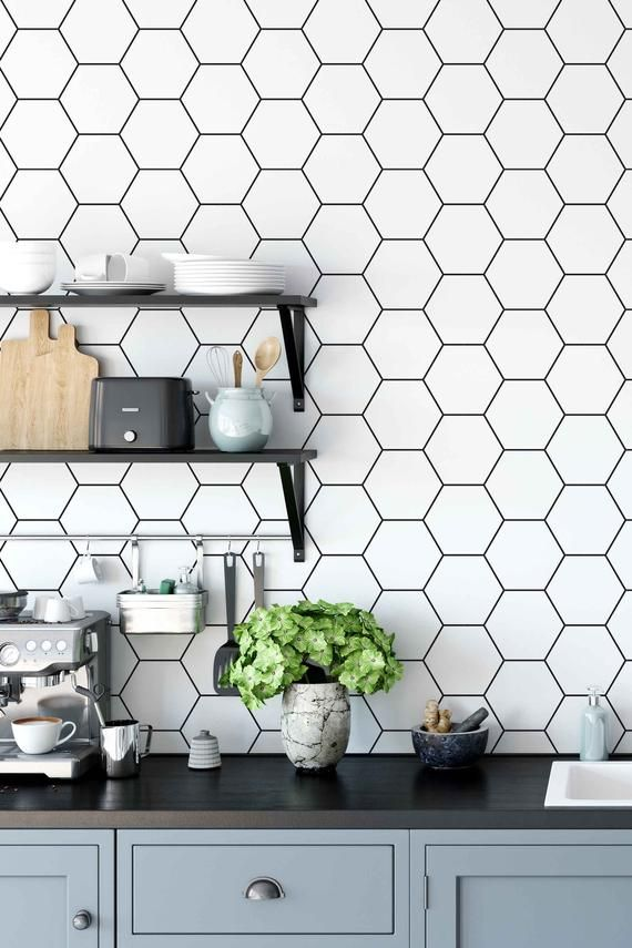 peel and stick wallpaper with honeycomb