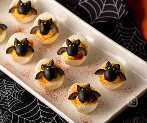 Try this cute recipe for Batty Deviled Eggs - sure to be a favorite at your Halloween party!