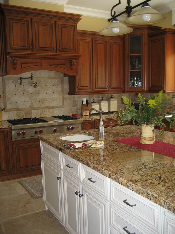 Cherry cabinets with granite tops kitchen pinterest for Kitchen cabinets top