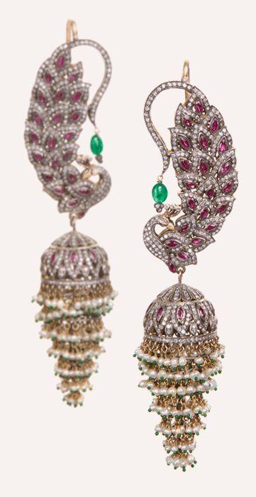 Diamond, Ruby and Emerald Peacock Jhumki Earrings | Munnu The Gem Palace