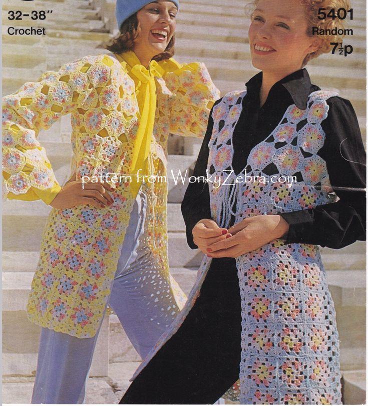WZ880 long crochet motif waistcoat/vest tunics. Pattern PDF from WonkyZebra.com