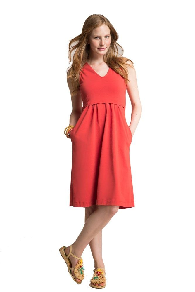 Everything about this dress says smart - from Boob's patented nursing function in the bodice to hidden side pockets for tissues and pacifiers and a wide pleated skirt that flatters your belly before and after pregnancy. A casual, sleeveless look that can transition from spring to summer with a cardigan. This maternity and nursing dress is made of soft and comfortable quality organic cotton....