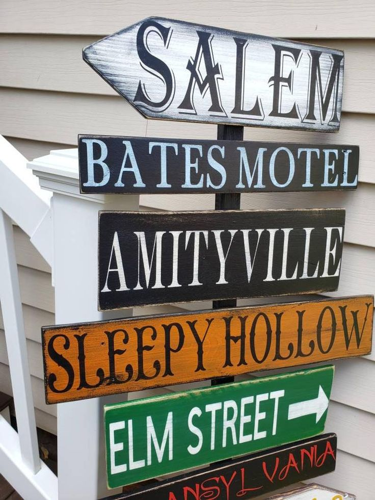 Halloween Directional Sign Porch Sign Distressed Pallet