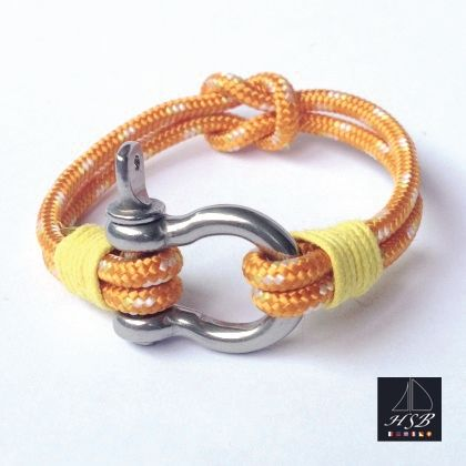Orange paracord bracelet with yellow line and stainless steel shackle - 45 RON