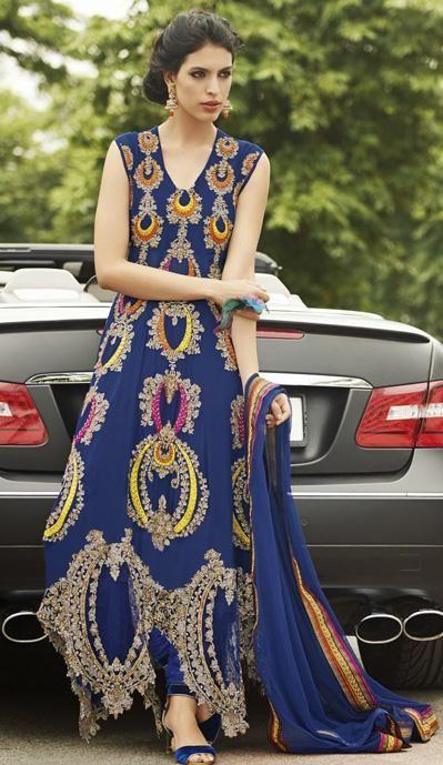 USD 154.35 Blue Zardosi Work Faux Georgette Designer Salwar Kameezz 27468