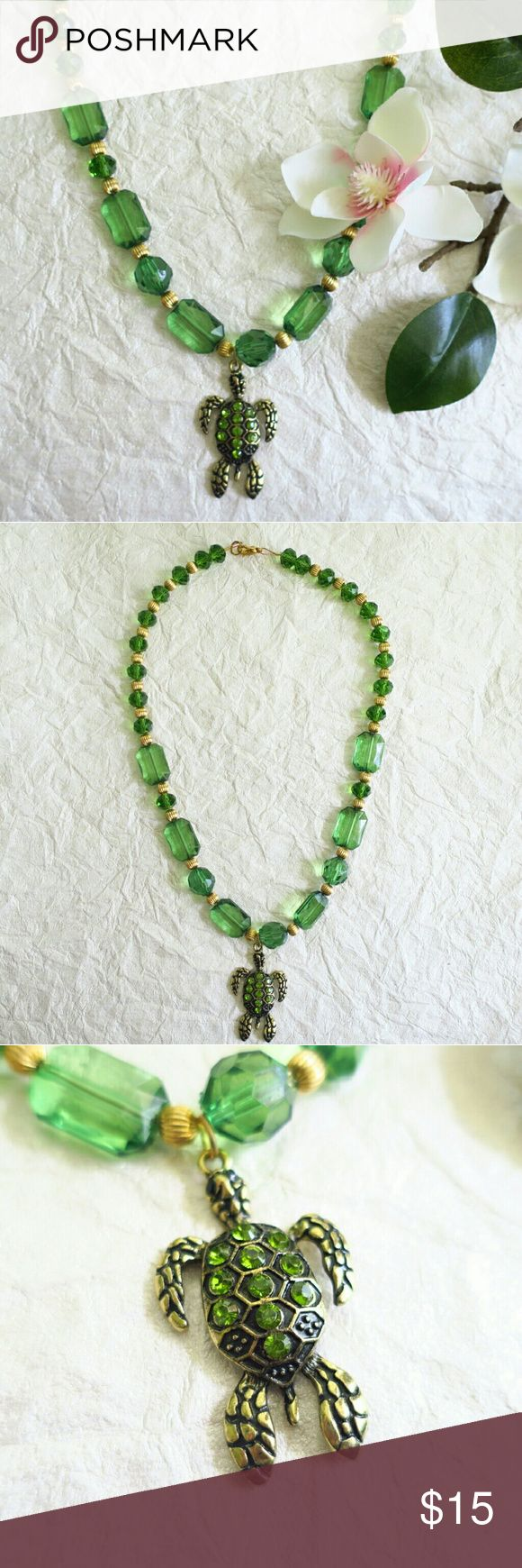 Green Statement Necklace w Turtle Pendant Green Transparent Beads Gol Metal Beads Turtle Pendant with Green Rhinestones   Measurement in photo  TOP RATED SELLER  FAST SHIPPING  Create a bundle of items and get a Private discounted price offer from me Jewelry Necklaces