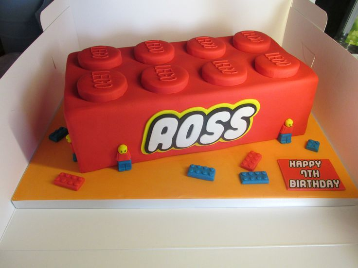 Lego cake - Lego cake.  100% edible.  Name in the style of the Lego logo.