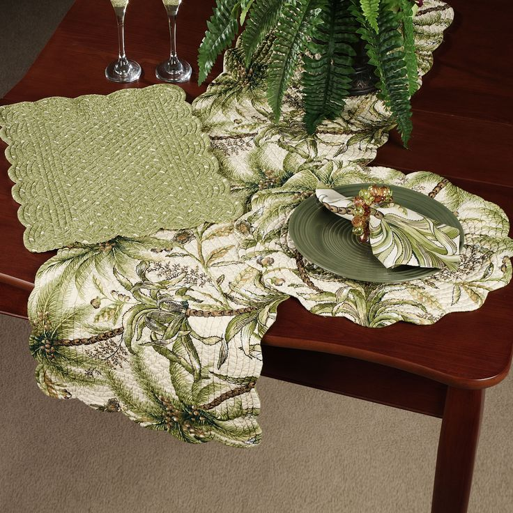 Tropical+Kitchen+Table+Sets | Home Barbados Quilted Rectangle Placemat Set  Sand Set