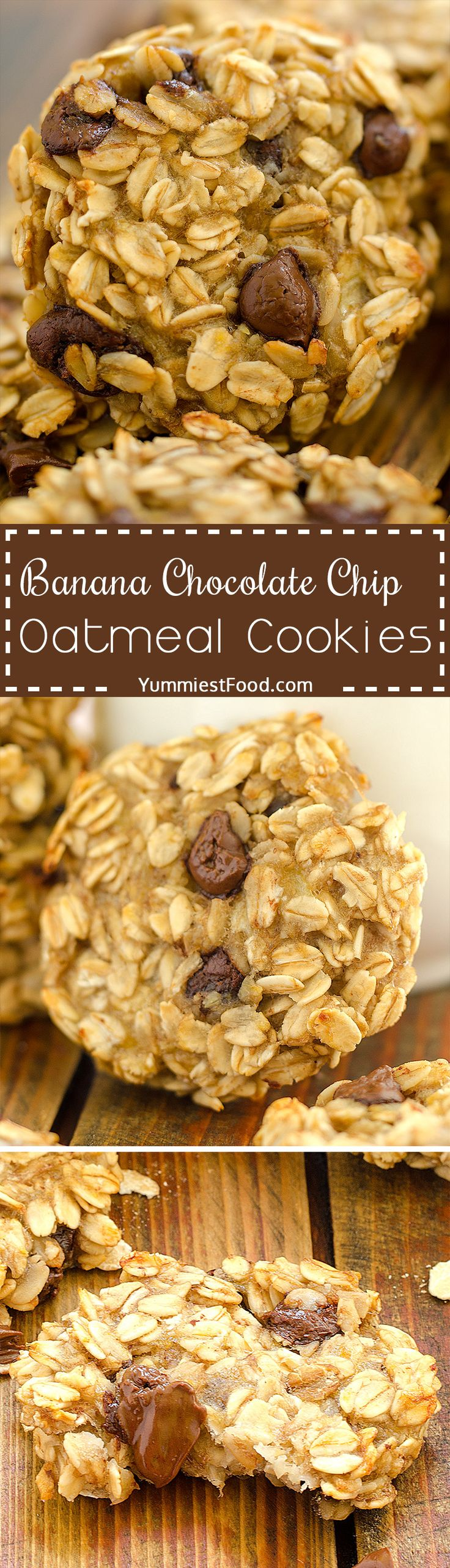 Banana Chocolate Chip Oatmeal Cookies – very quick and easy to make with only three ingredients! Perfect way to start your day! Banana Chocolate Chip Oatmeal Cookies – delicious and very healthy snack!