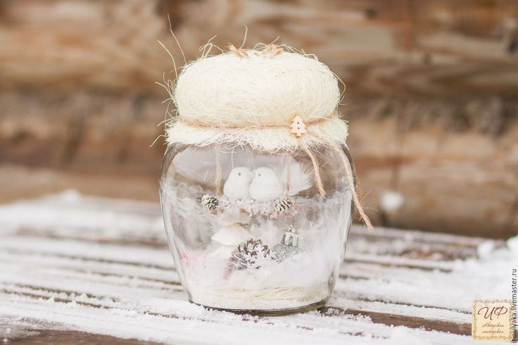 Купить Зима в банке. Объем 1,5 литра! - белый, птички в баночке, подарок на новый год