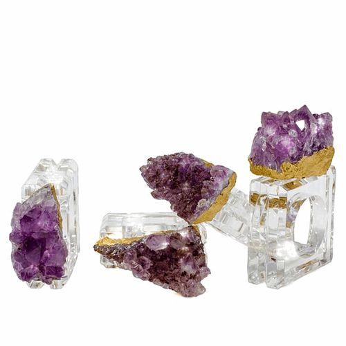 Gilded Amethyst Rock Napkin Rings Set of 4