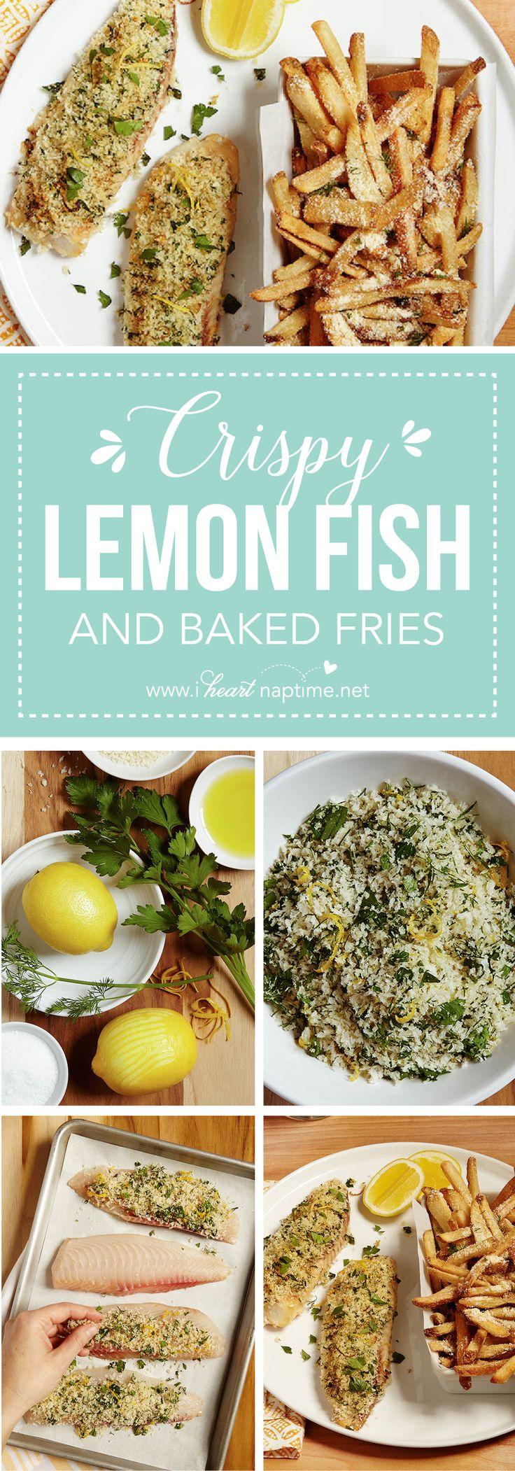 Crispy lemon fish with parmesan fries recipe frozen for Baking frozen fish