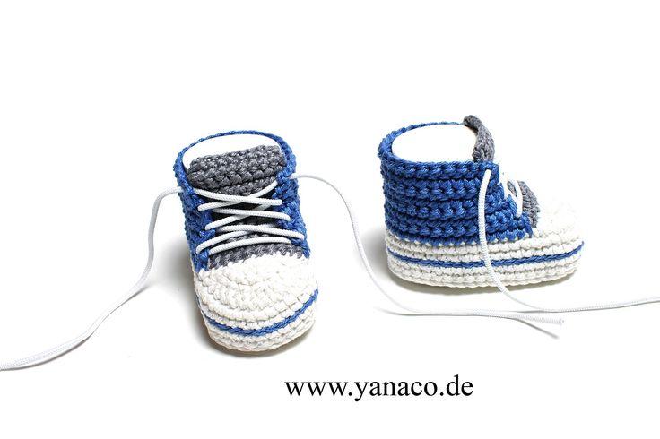 12,99€, Babyschuhe,Babyshoes, crochet, gehäkelt, DIY,blau, grau